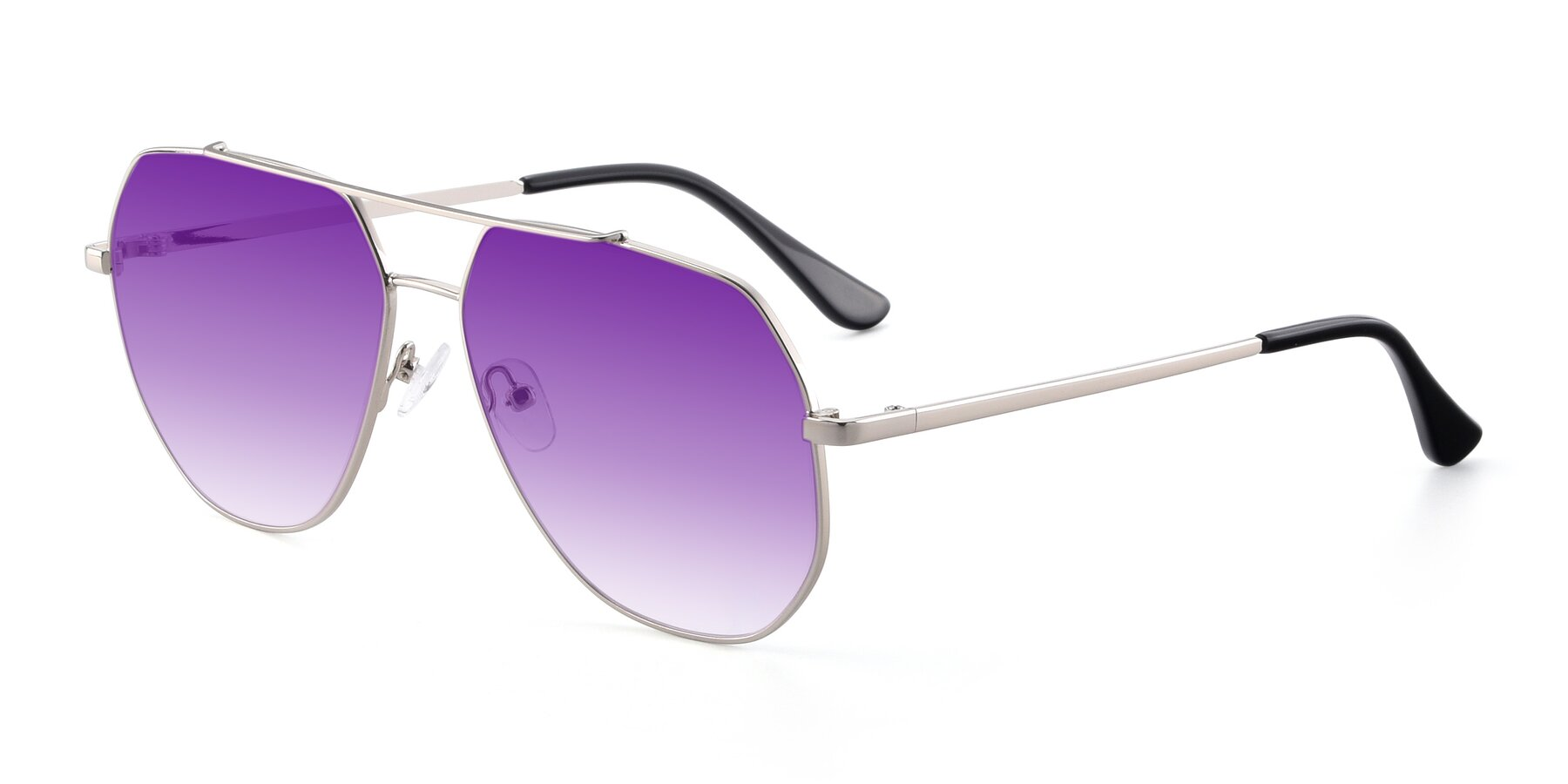 Angle of 9438 in Silver with Purple Gradient Lenses