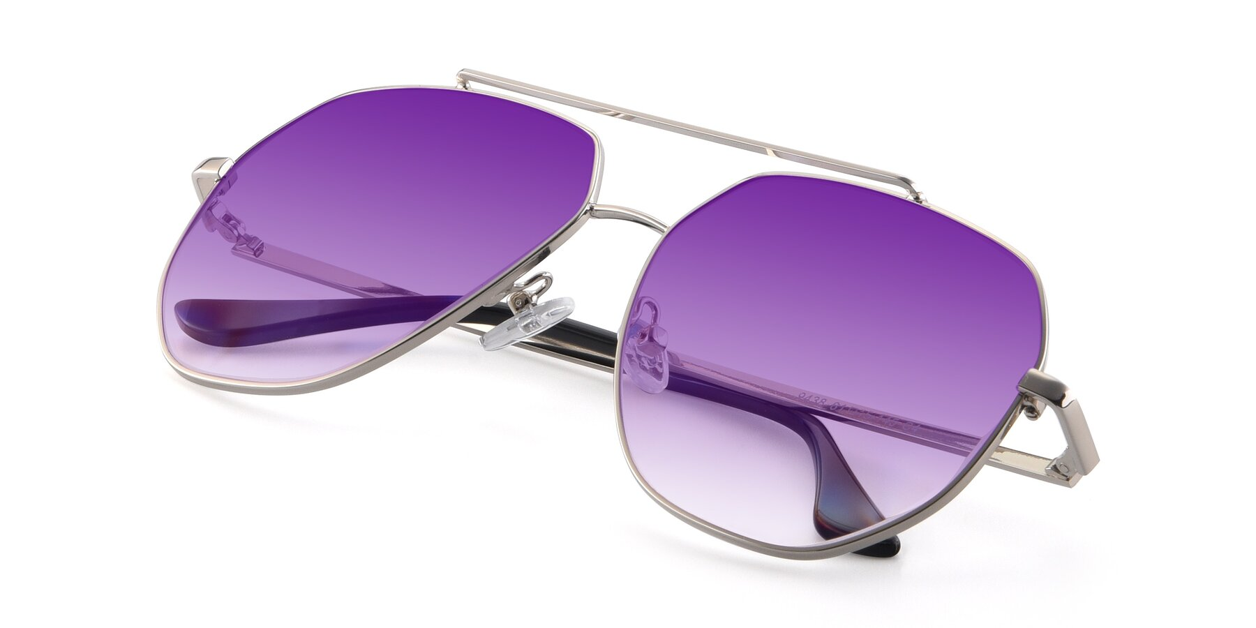 View of 9438 in Silver with Purple Gradient Lenses