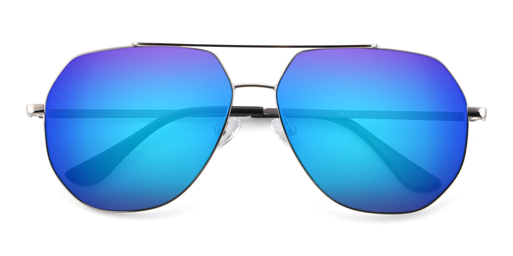 Folded Front of 9438 in Silver with Blue Mirrored Lenses
