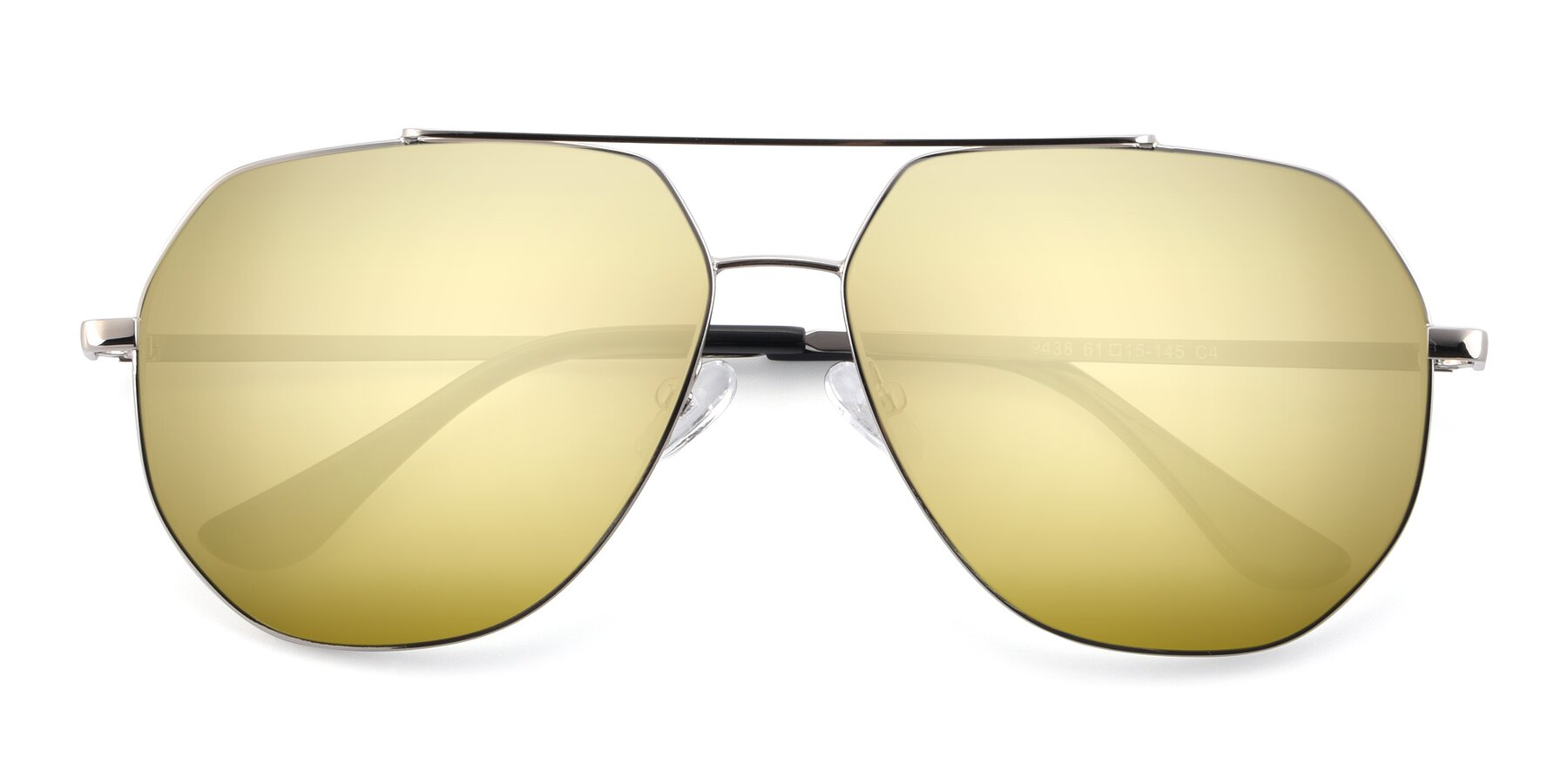 Folded Front of 9438 in Silver with Gold Mirrored Lenses
