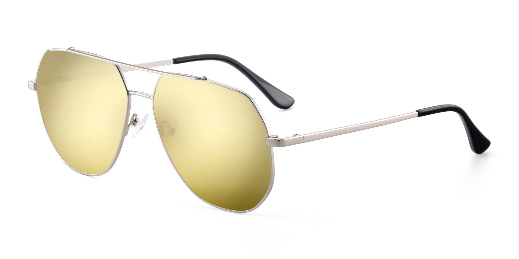 Angle of 9438 in Silver with Gold Mirrored Lenses