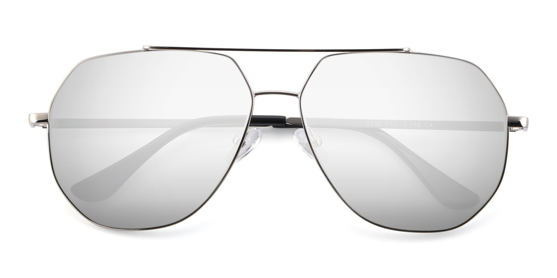 Folded Front of 9438 in Silver with Silver Mirrored Lenses