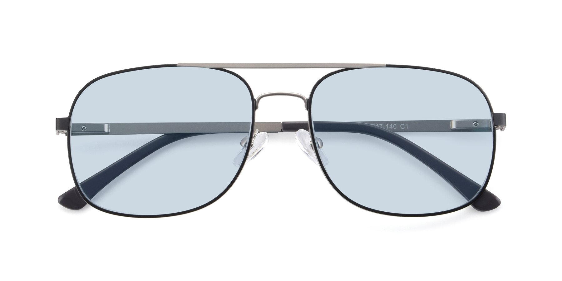 Folded Front of 9487 in Black-Silver with Light Blue Tinted Lenses