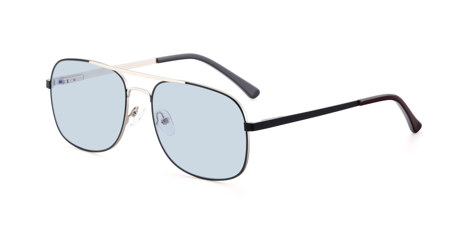 Angle of 9487 in Black-Silver with Light Blue Tinted Lenses