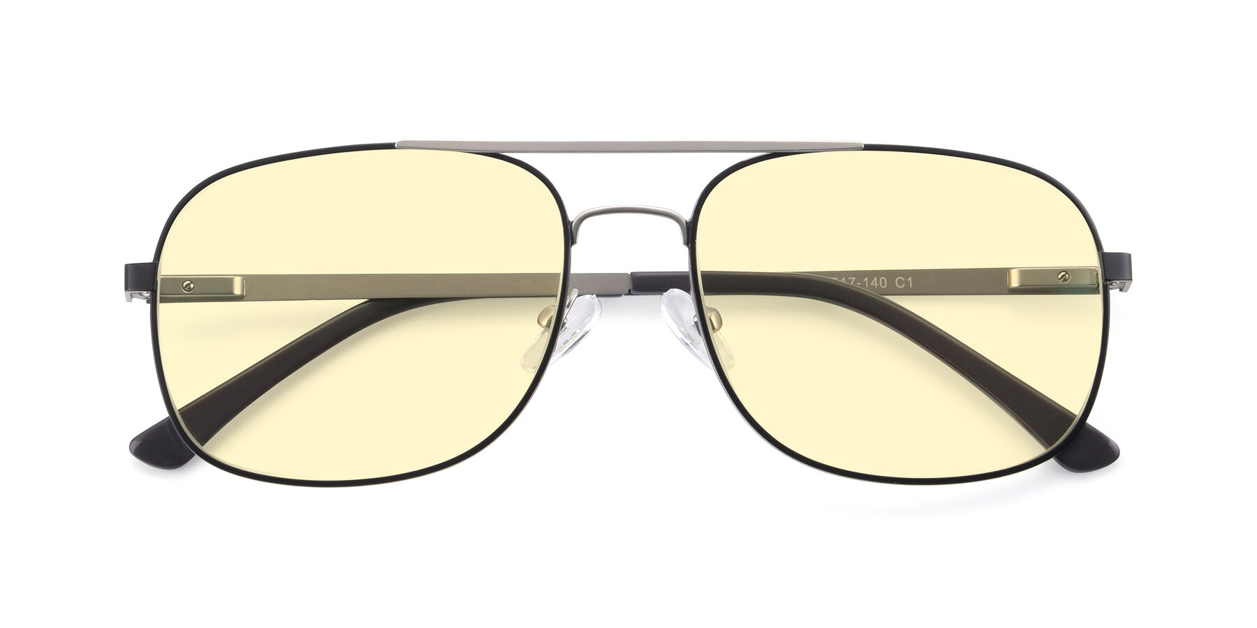 Folded Front of 9487 in Black-Silver with Light Yellow Tinted Lenses