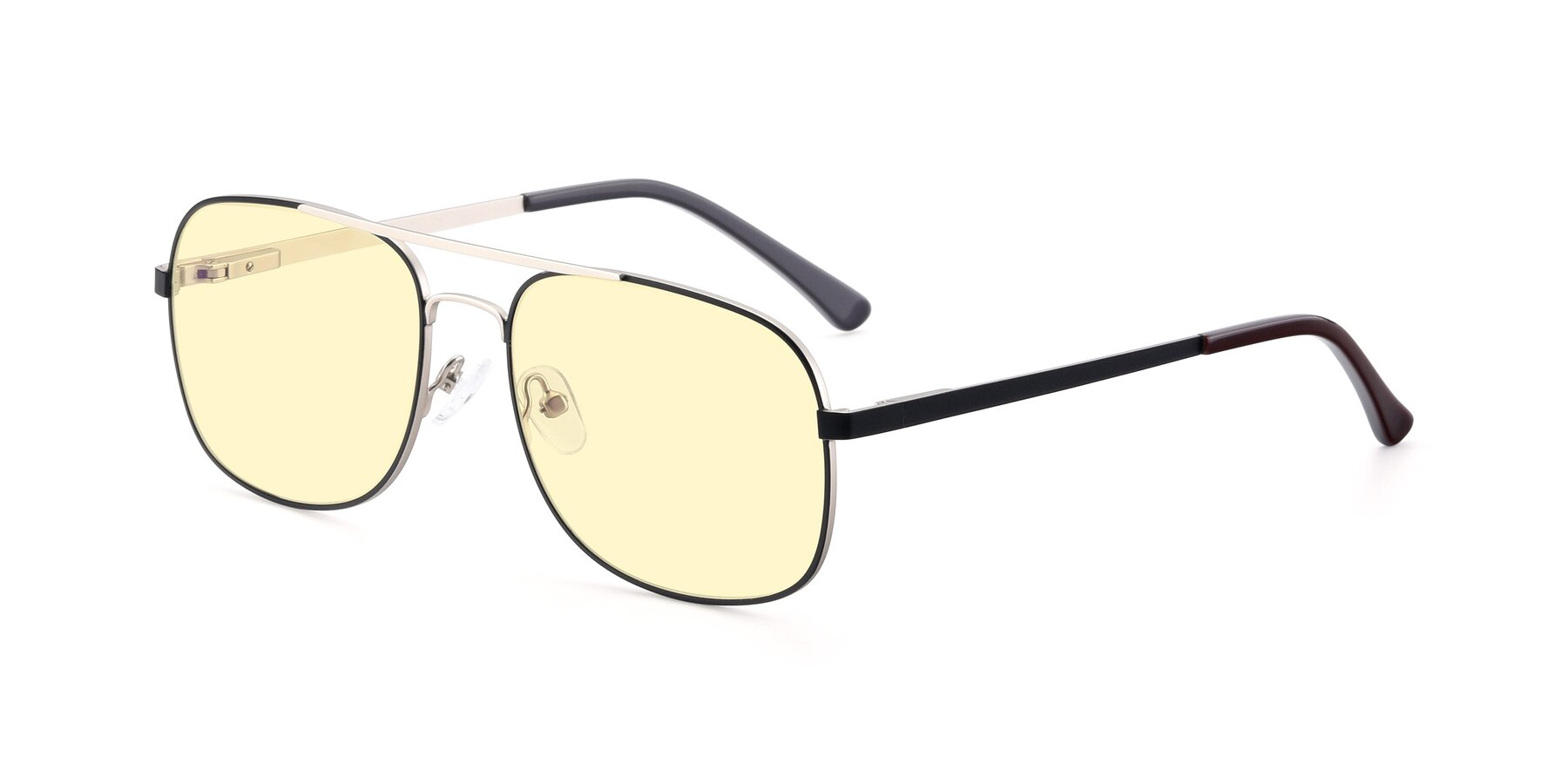 Angle of 9487 in Black-Silver with Light Yellow Tinted Lenses