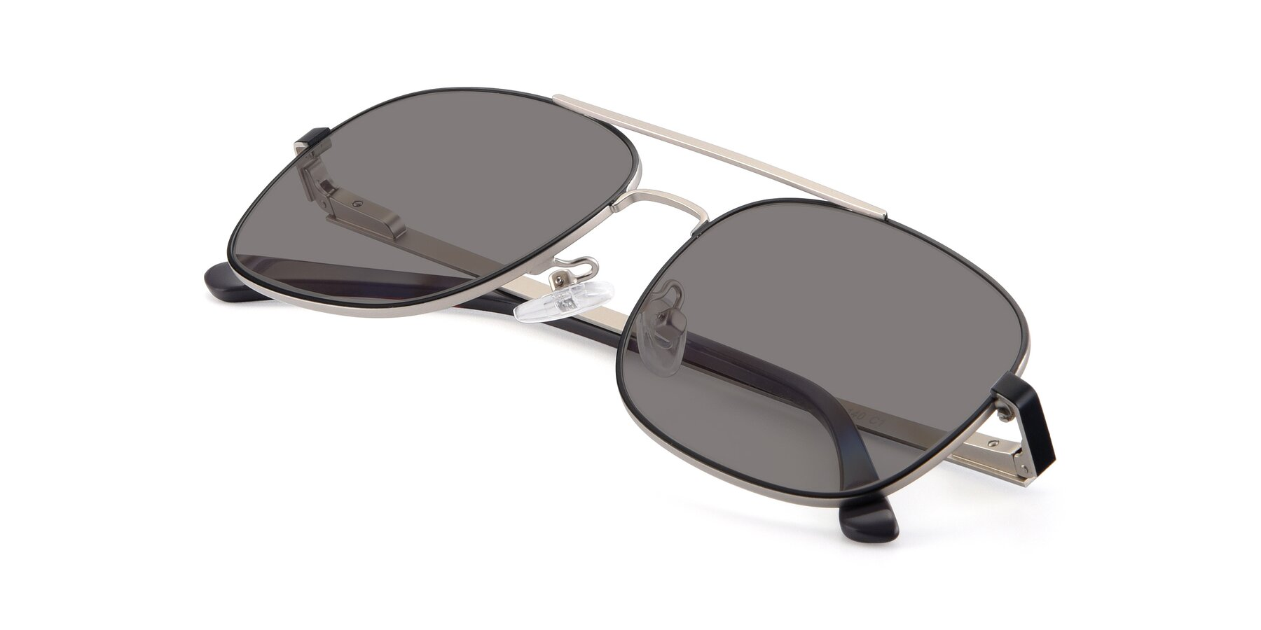 View of 9487 in Black-Silver with Medium Gray Tinted Lenses