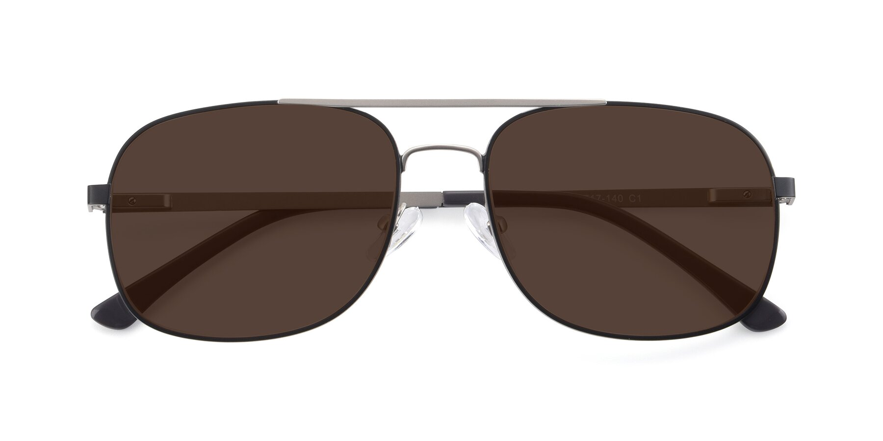 Folded Front of 9487 in Black-Silver with Brown Tinted Lenses