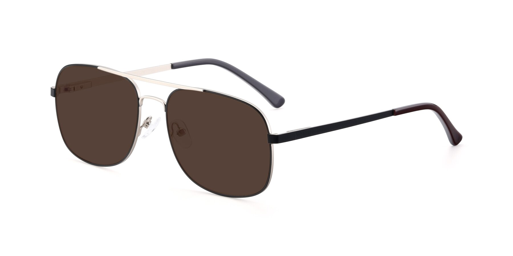 Angle of 9487 in Black-Silver with Brown Tinted Lenses