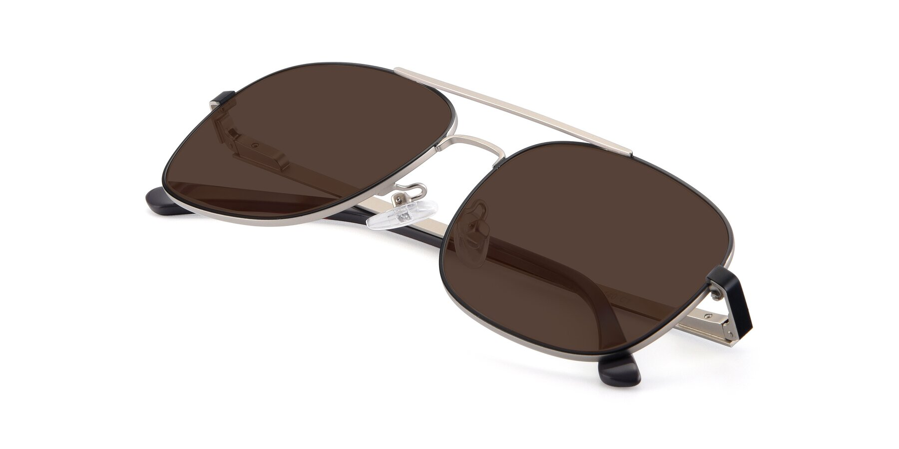 View of 9487 in Black-Silver with Brown Tinted Lenses