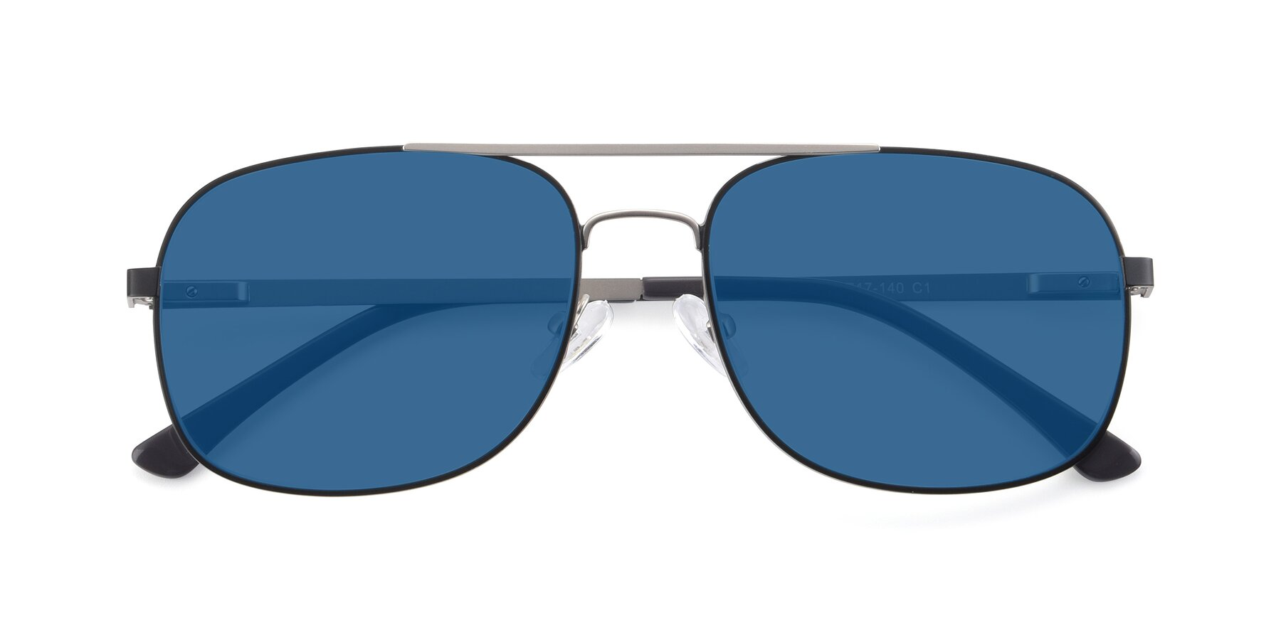 Folded Front of 9487 in Black-Silver with Blue Tinted Lenses