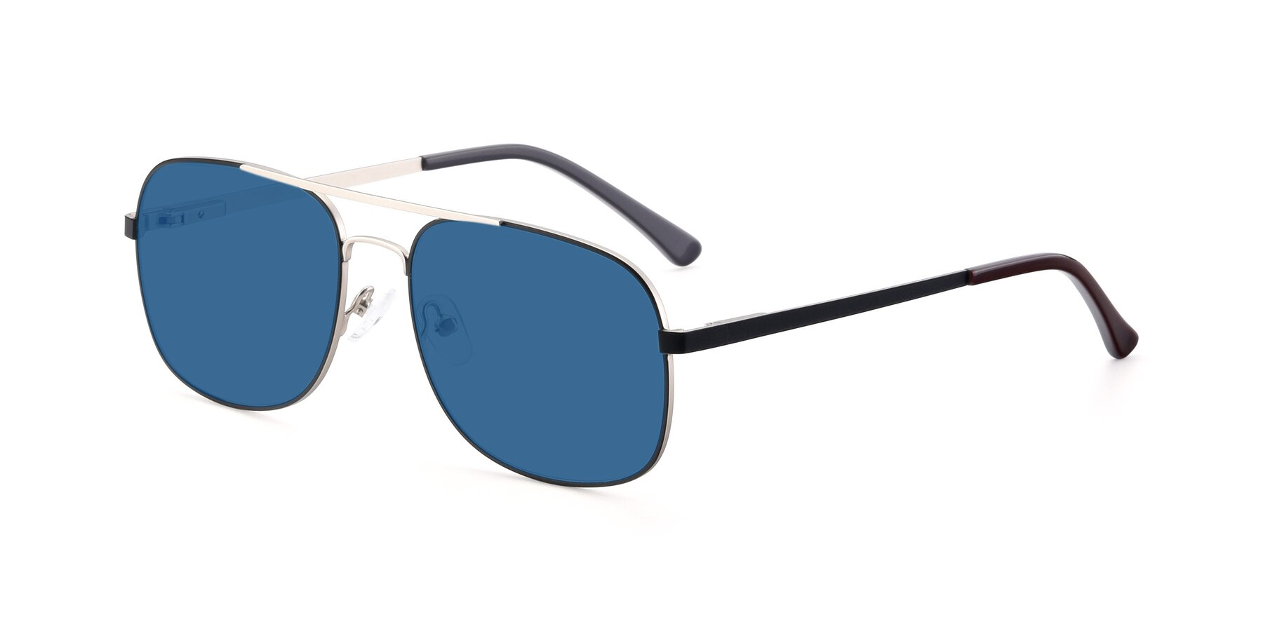 Angle of 9487 in Black-Silver with Blue Tinted Lenses