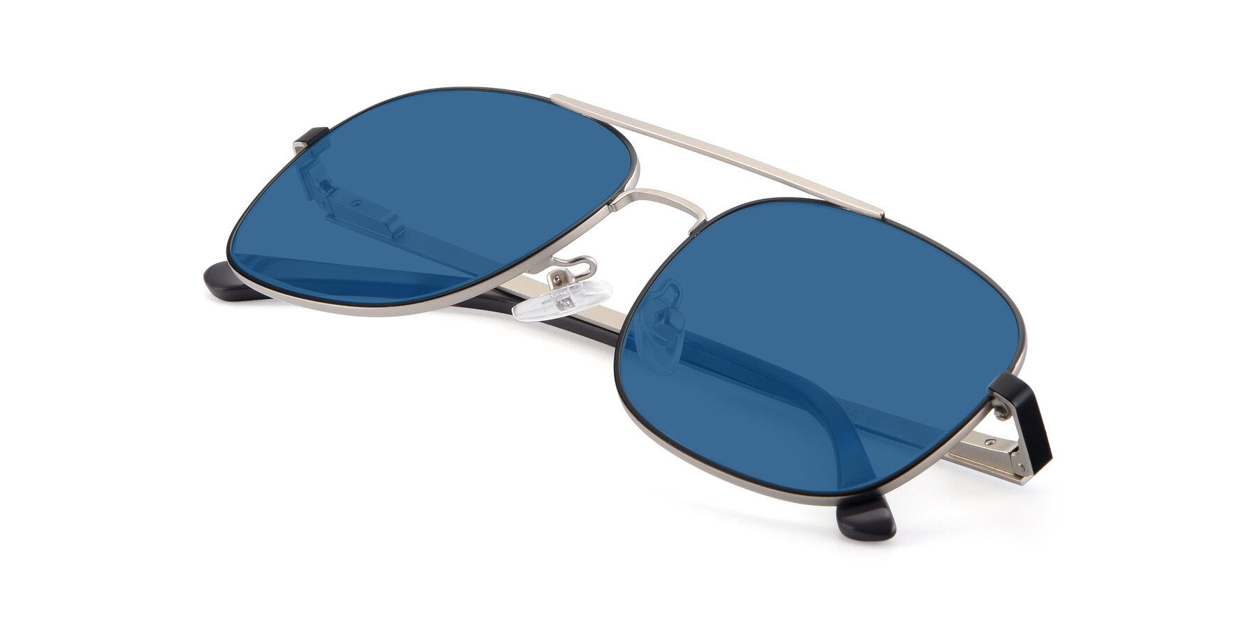 View of 9487 in Black-Silver with Blue Tinted Lenses