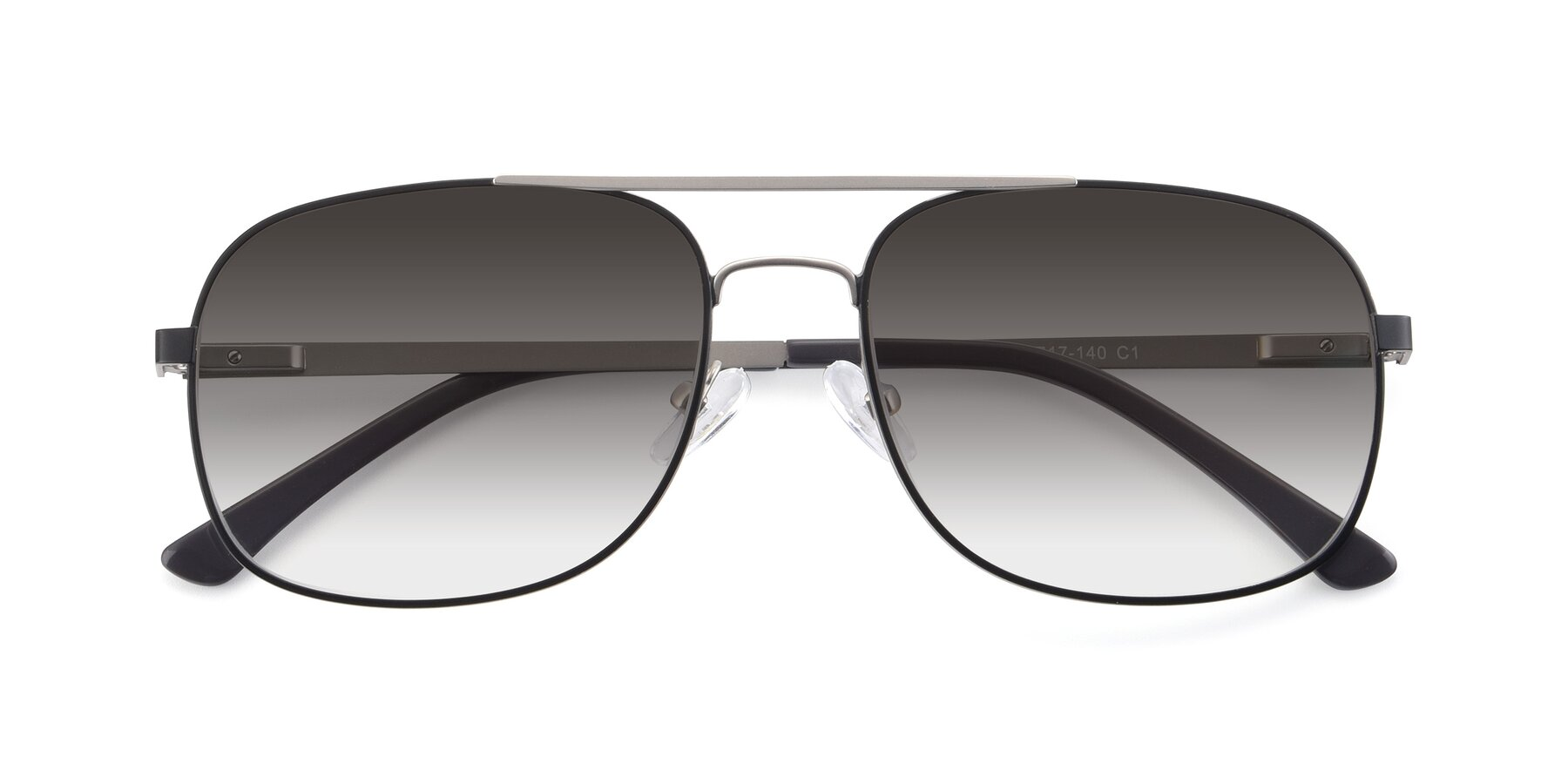 Folded Front of 9487 in Black-Silver with Gray Gradient Lenses
