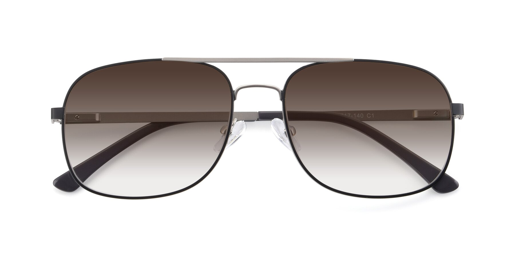 Folded Front of 9487 in Black-Silver with Brown Gradient Lenses