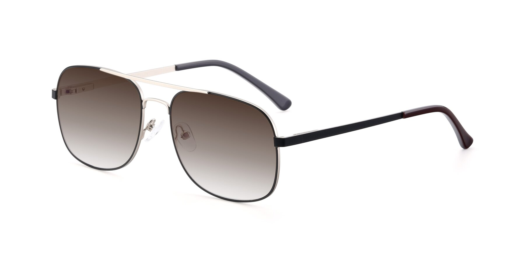 Angle of 9487 in Black-Silver with Brown Gradient Lenses