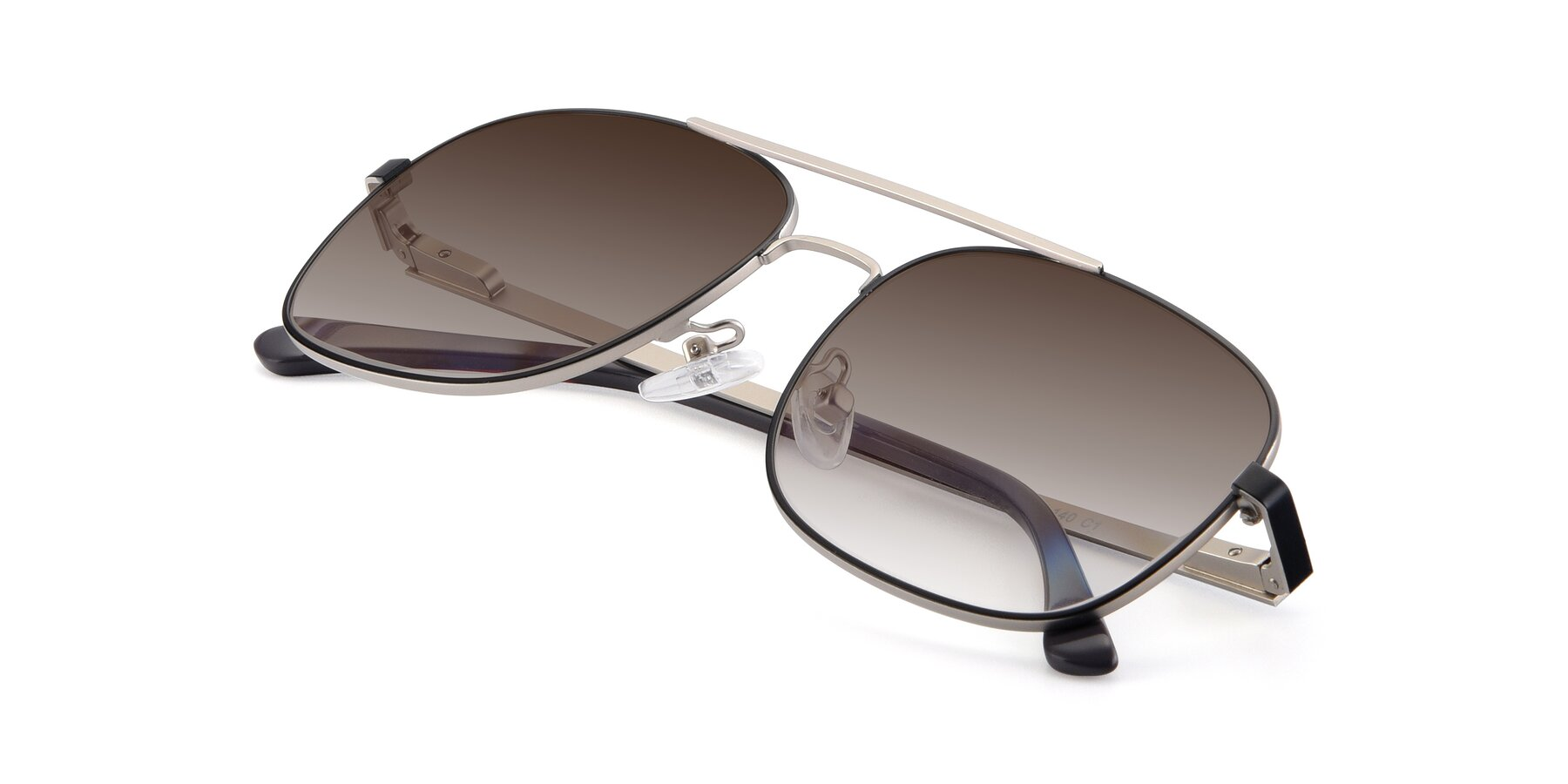 View of 9487 in Black-Silver with Brown Gradient Lenses