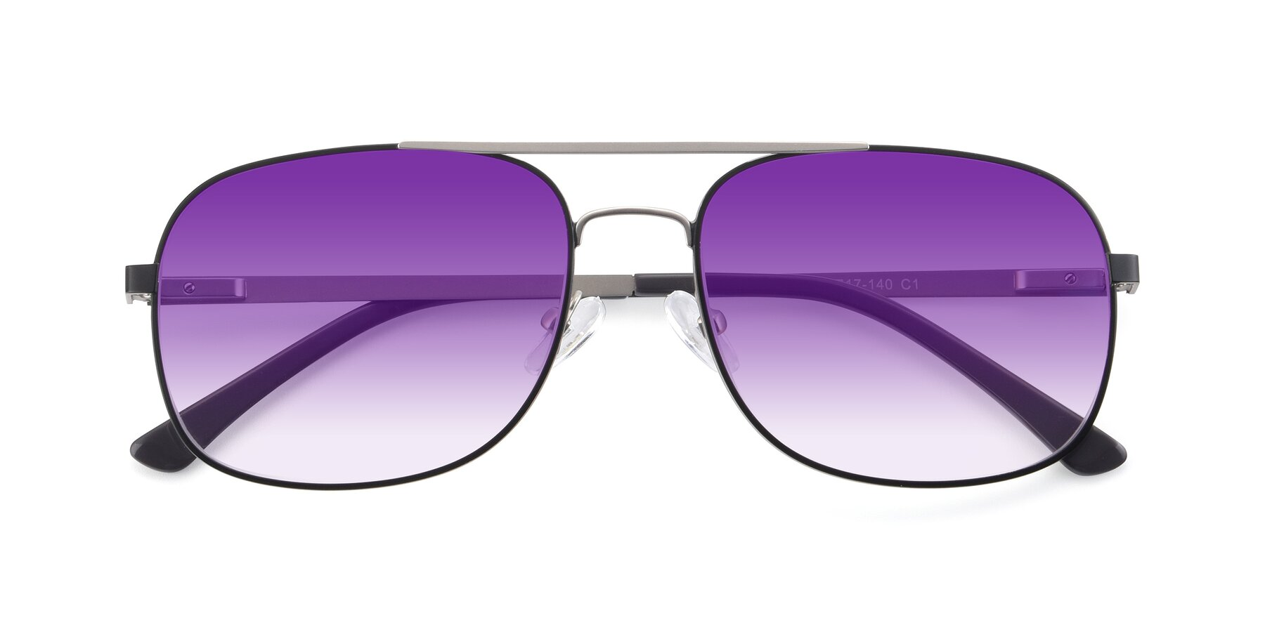 Folded Front of 9487 in Black-Silver with Purple Gradient Lenses