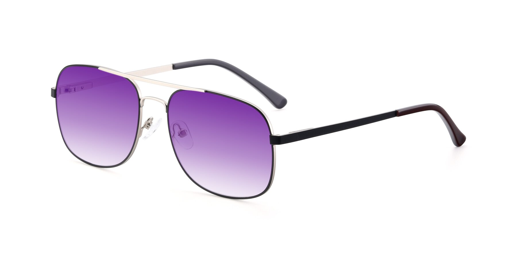 Angle of 9487 in Black-Silver with Purple Gradient Lenses