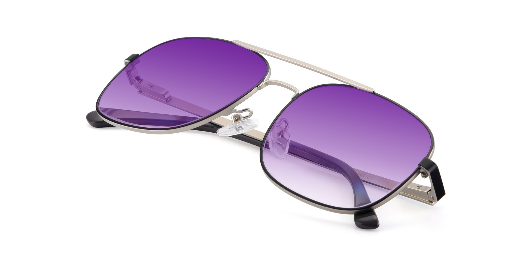 View of 9487 in Black-Silver with Purple Gradient Lenses
