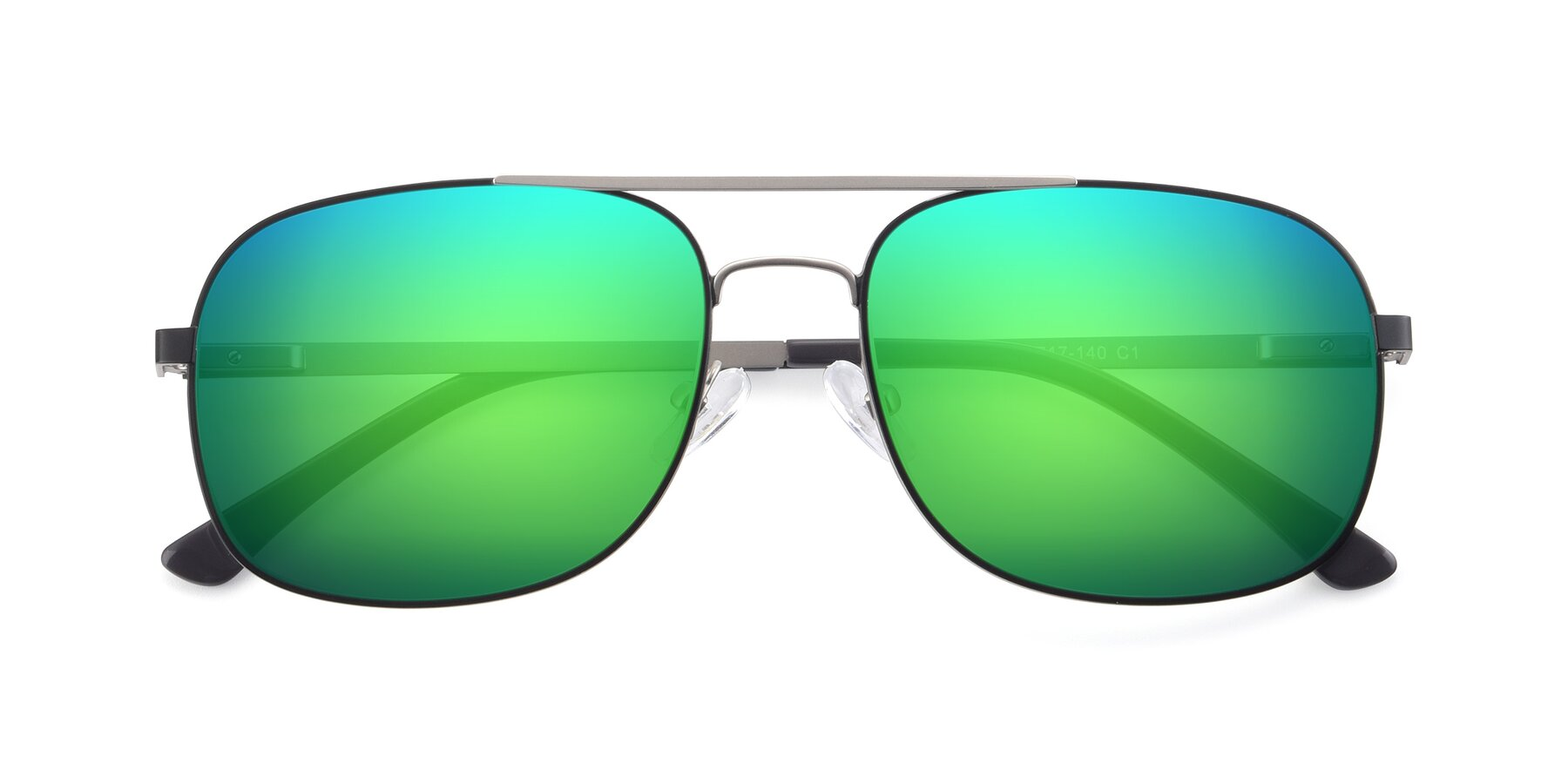 Folded Front of 9487 in Black-Silver with Green Mirrored Lenses