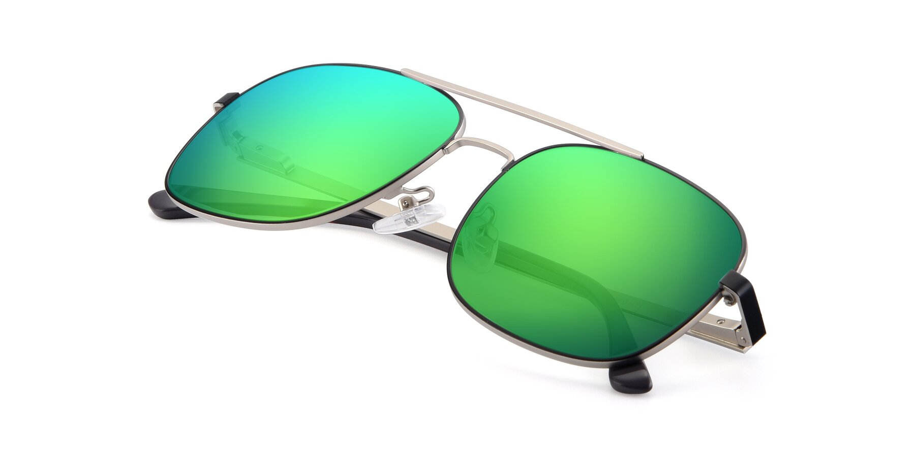 View of 9487 in Black-Silver with Green Mirrored Lenses