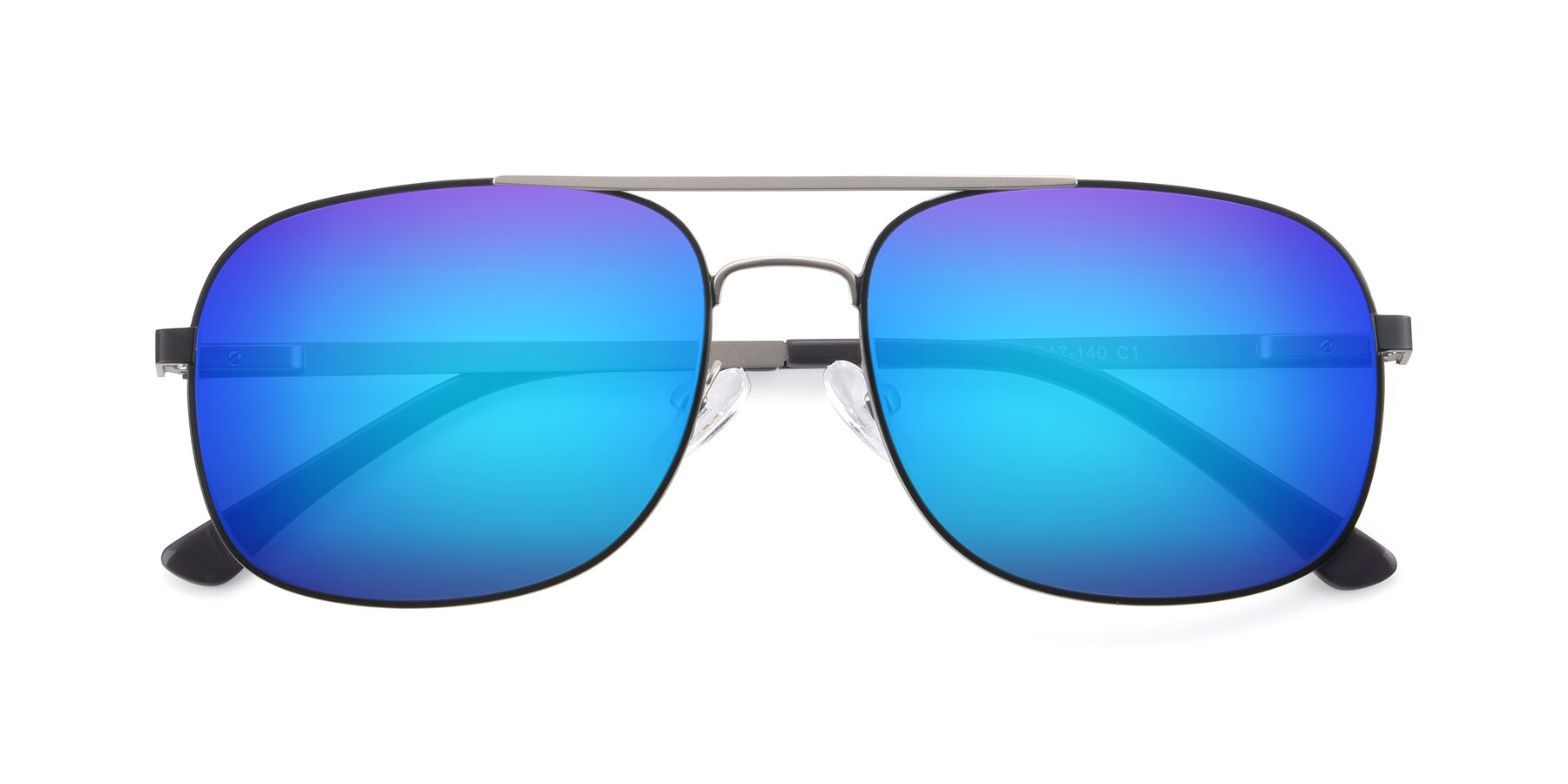 Folded Front of 9487 in Black-Silver with Blue Mirrored Lenses
