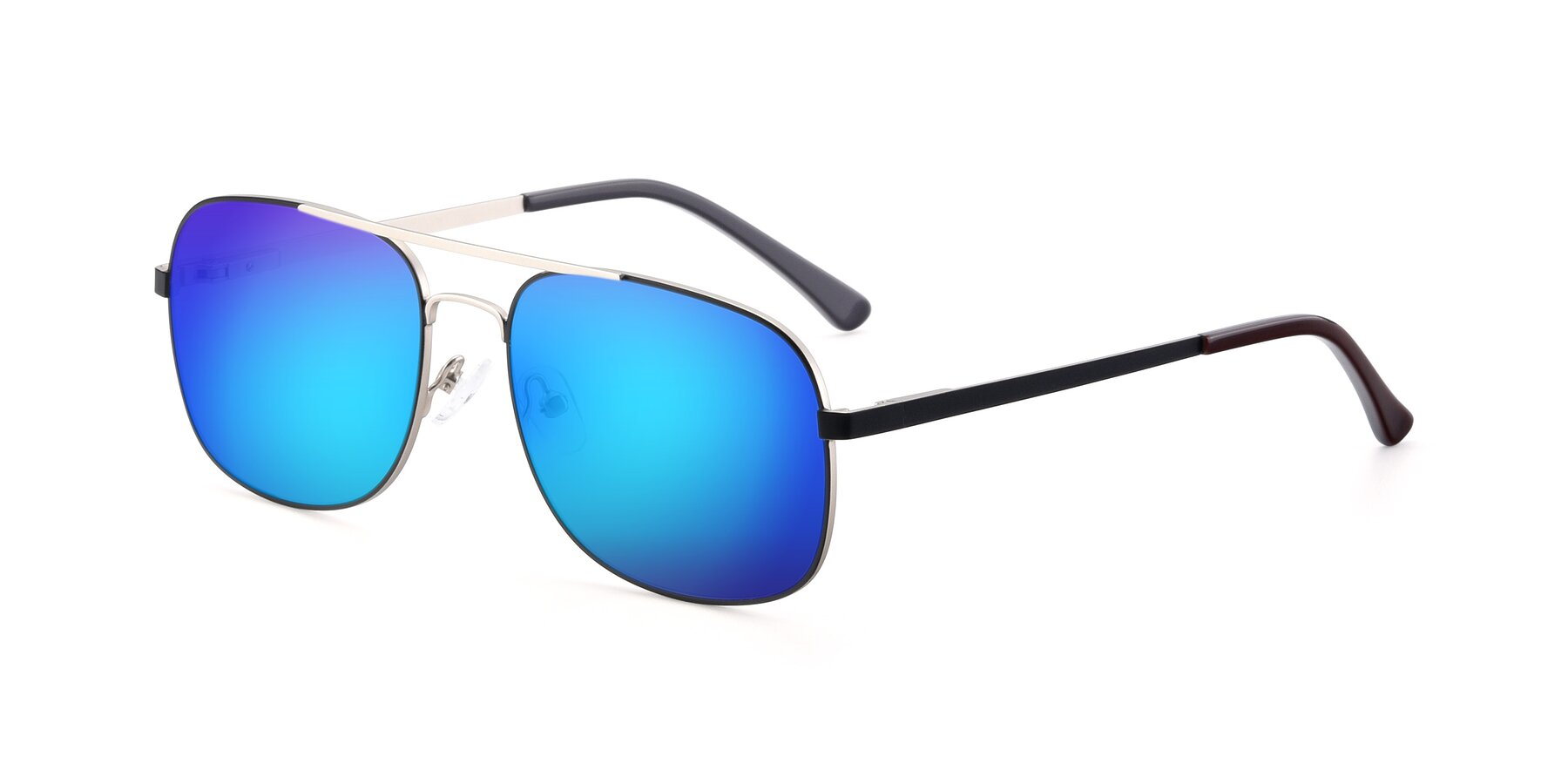 Angle of 9487 in Black-Silver with Blue Mirrored Lenses