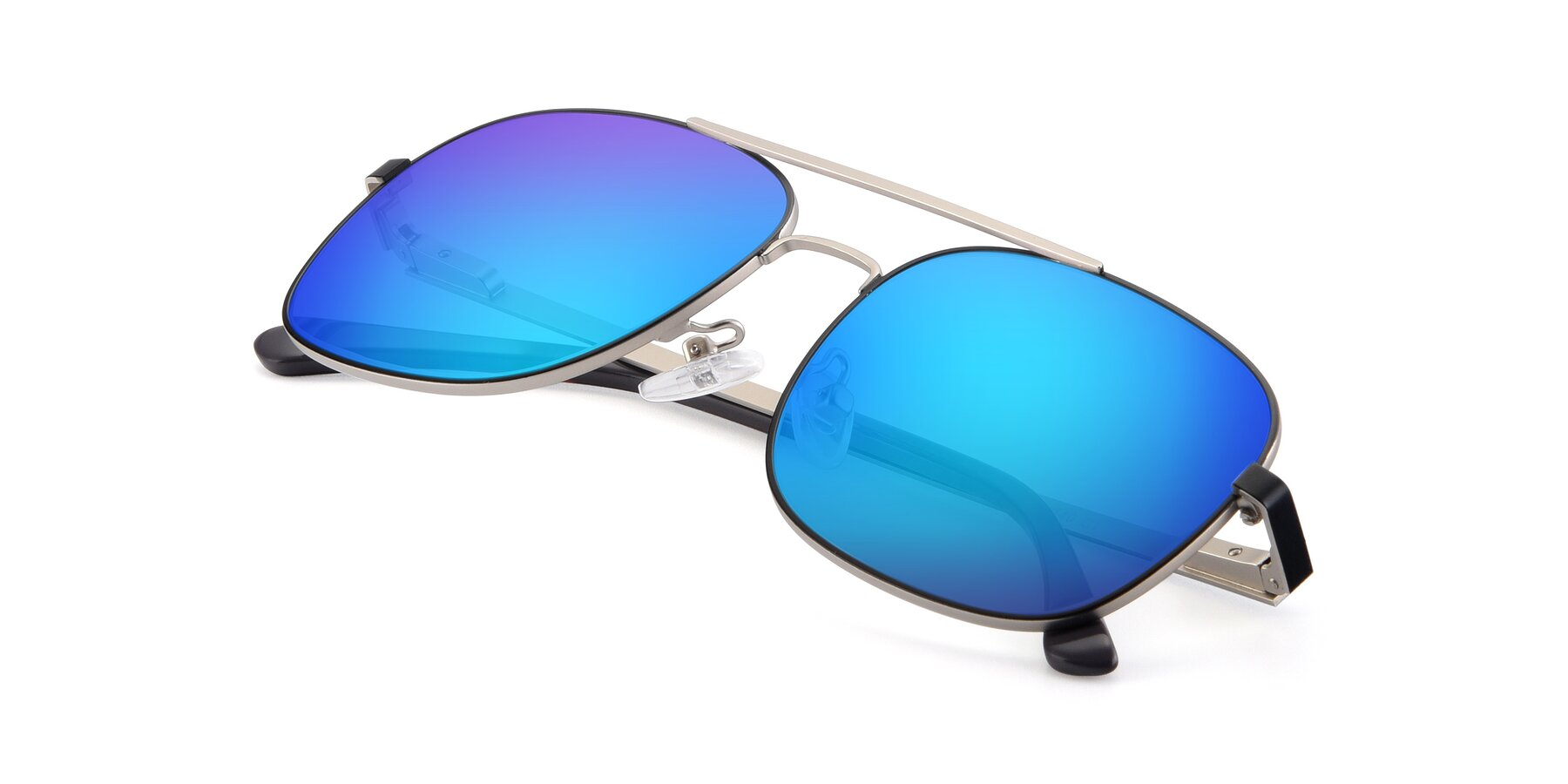 View of 9487 in Black-Silver with Blue Mirrored Lenses