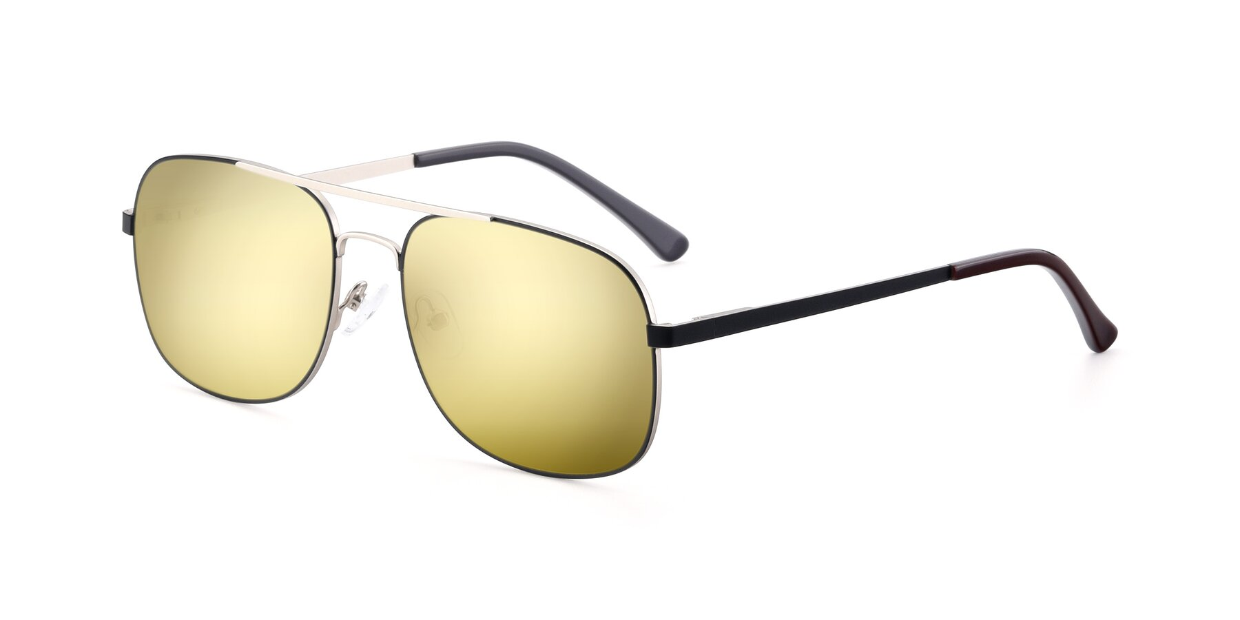 Angle of 9487 in Black-Silver with Gold Mirrored Lenses