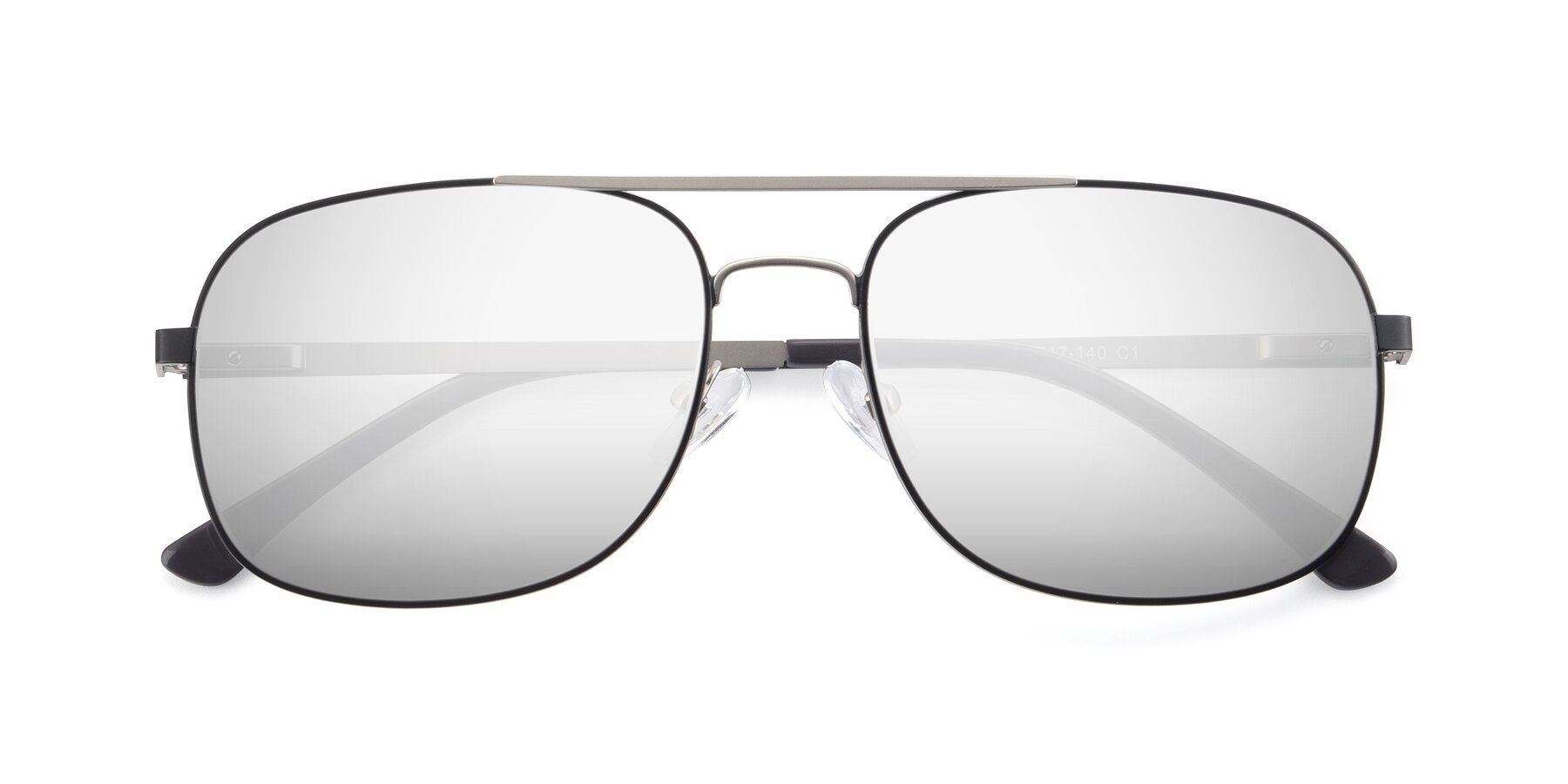 Folded Front of 9487 in Black-Silver with Silver Mirrored Lenses