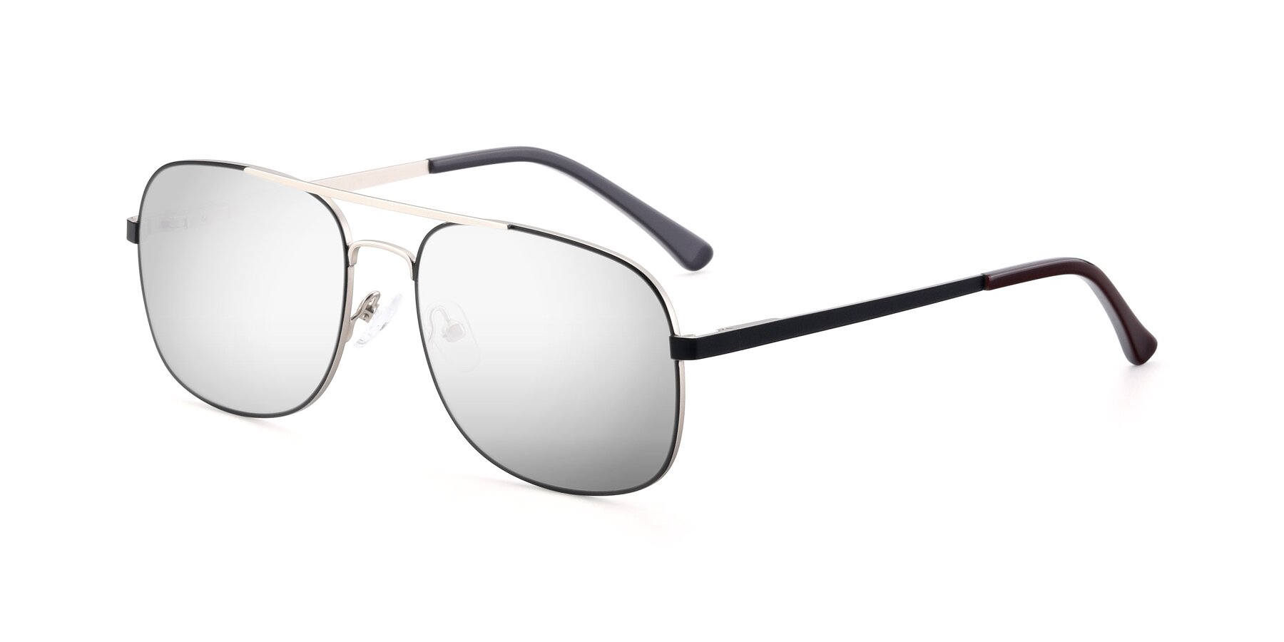 Angle of 9487 in Black-Silver with Silver Mirrored Lenses
