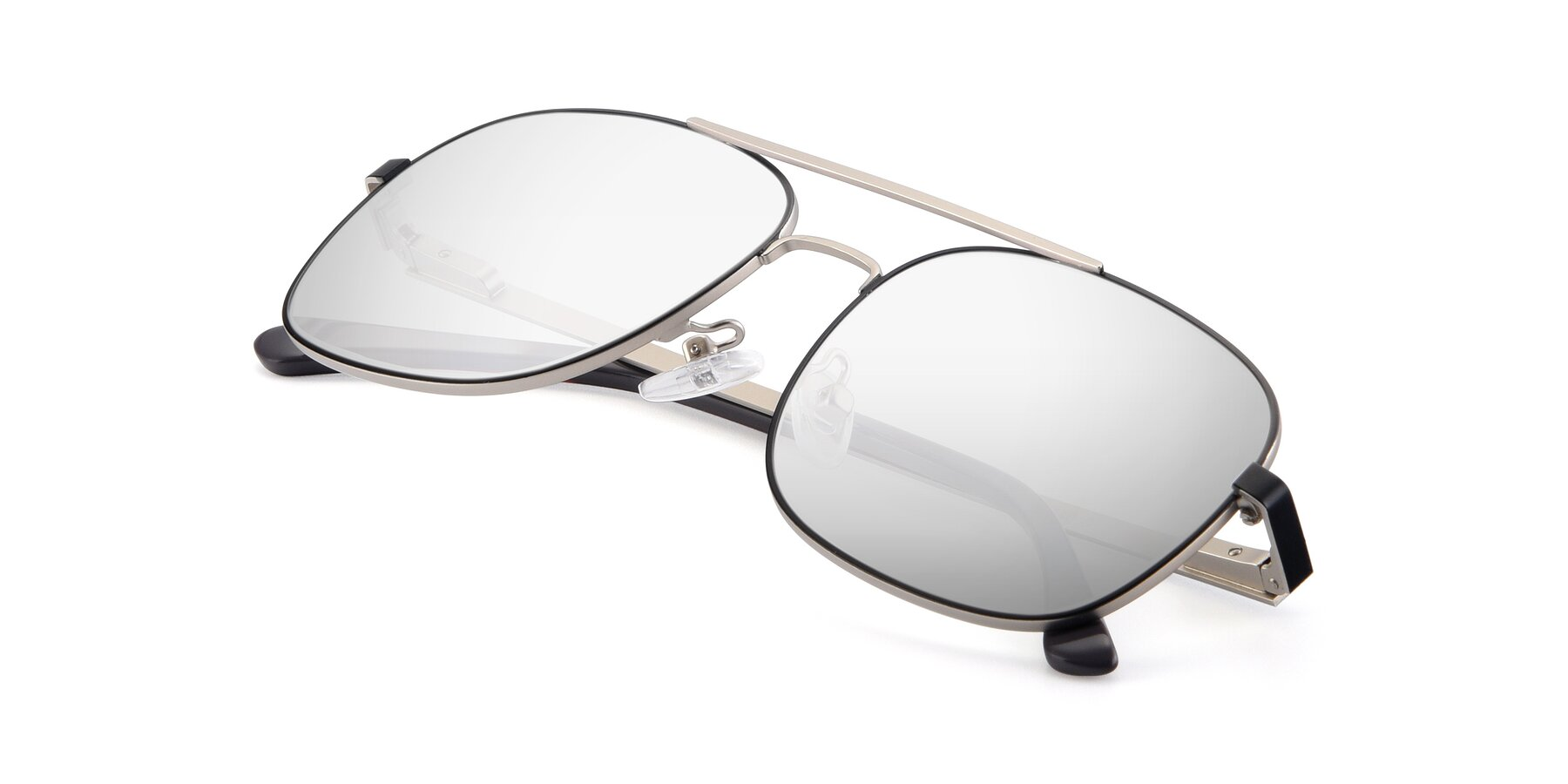 View of 9487 in Black-Silver with Silver Mirrored Lenses