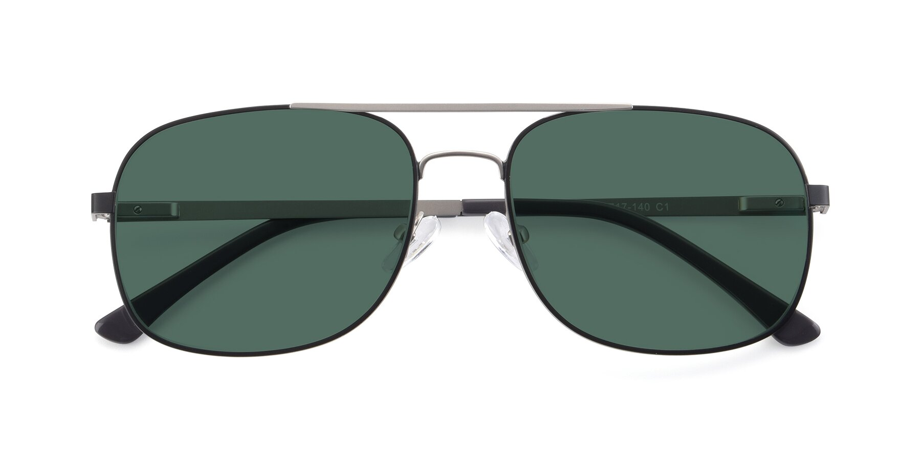 Folded Front of 9487 in Black-Silver with Green Polarized Lenses