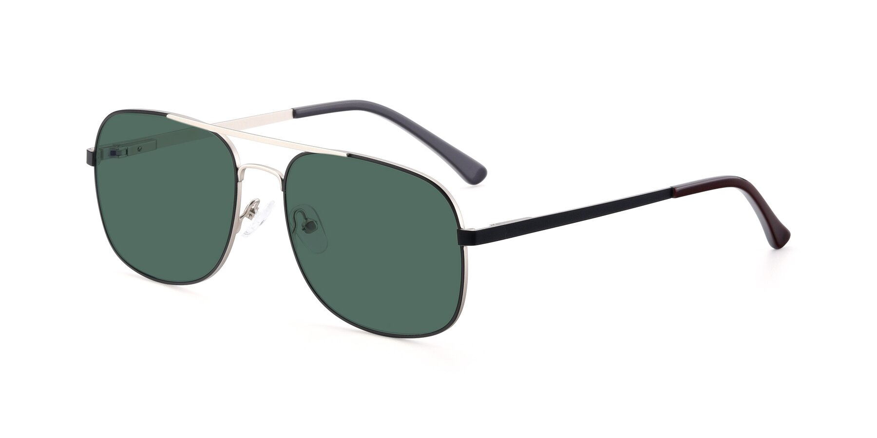 Angle of 9487 in Black-Silver with Green Polarized Lenses
