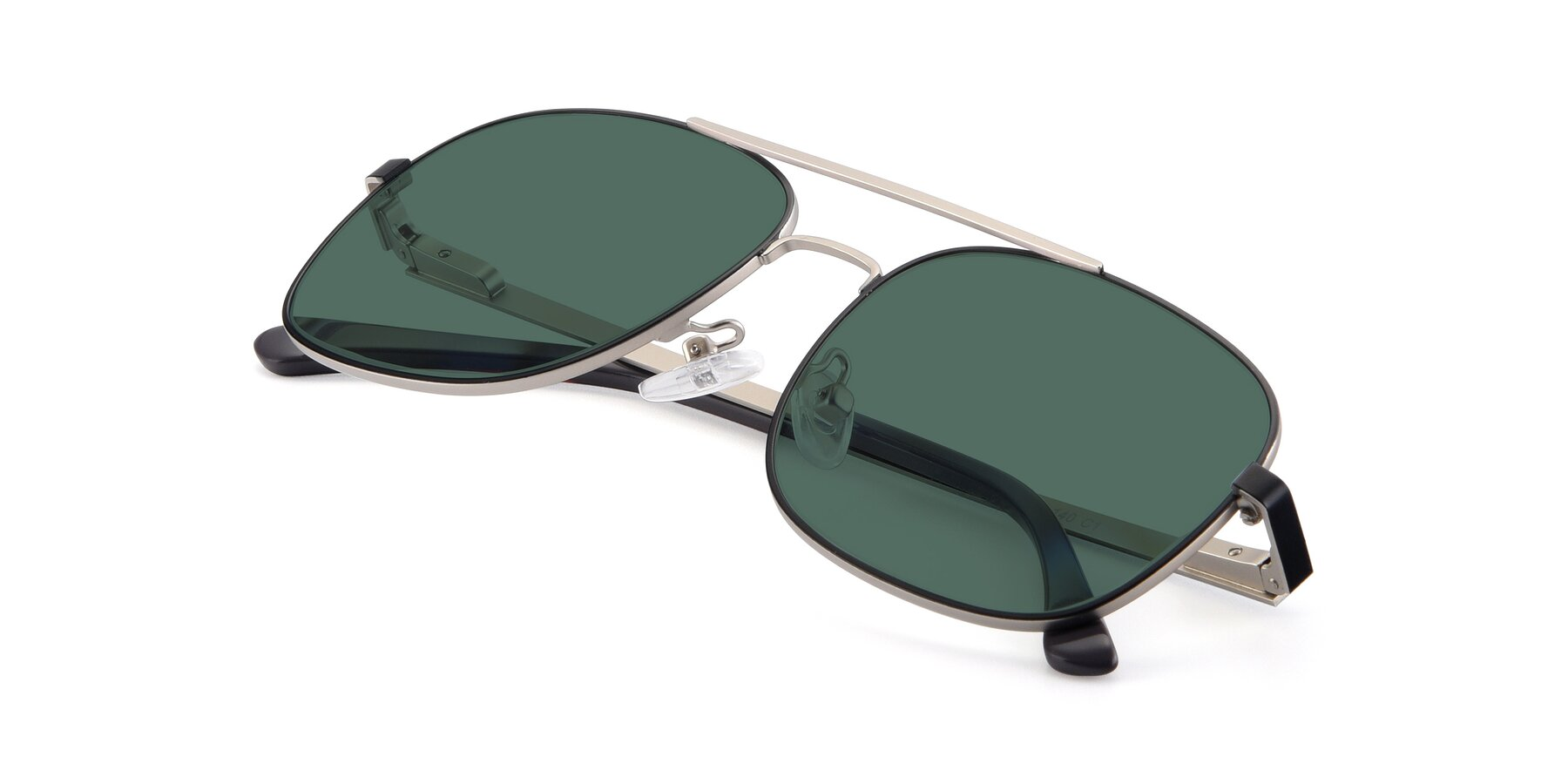 View of 9487 in Black-Silver with Green Polarized Lenses