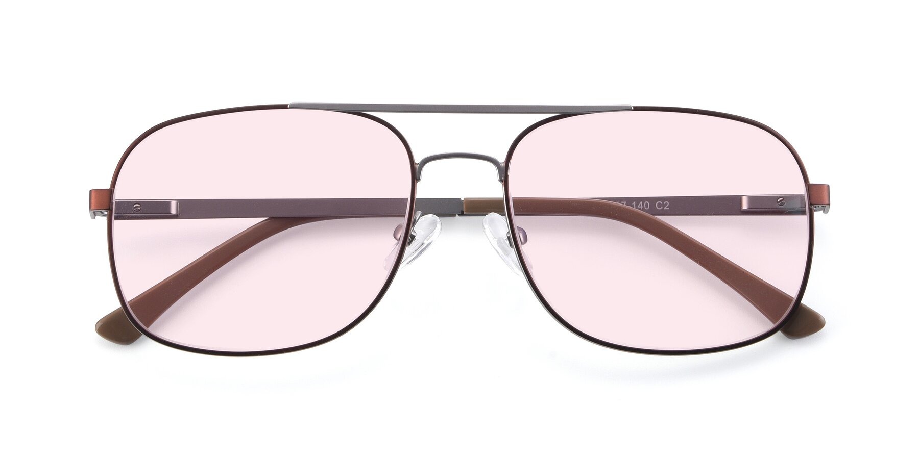 Folded Front of 9487 in Brown-Silver with Light Pink Tinted Lenses