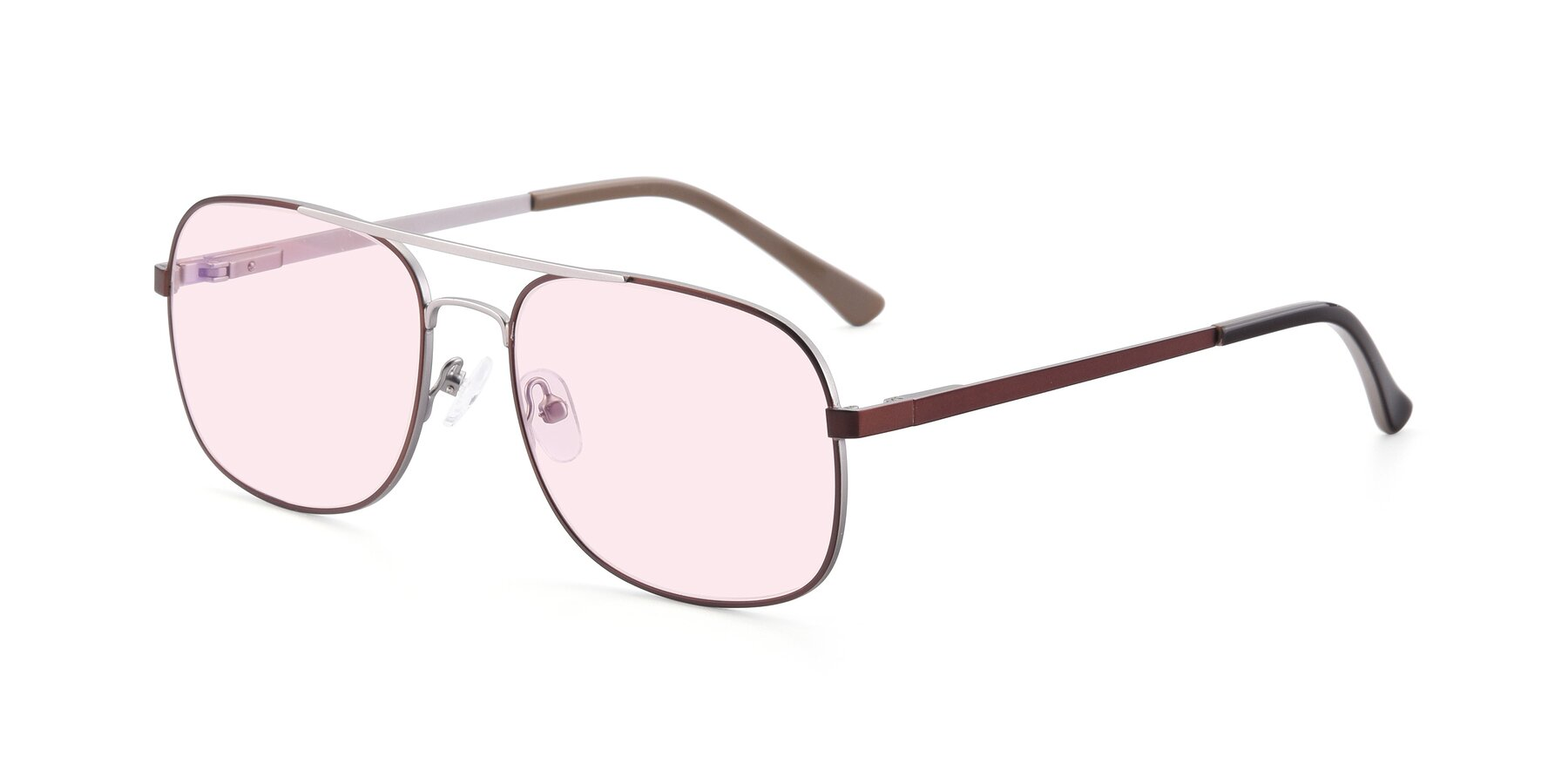 Angle of 9487 in Brown-Silver with Light Pink Tinted Lenses