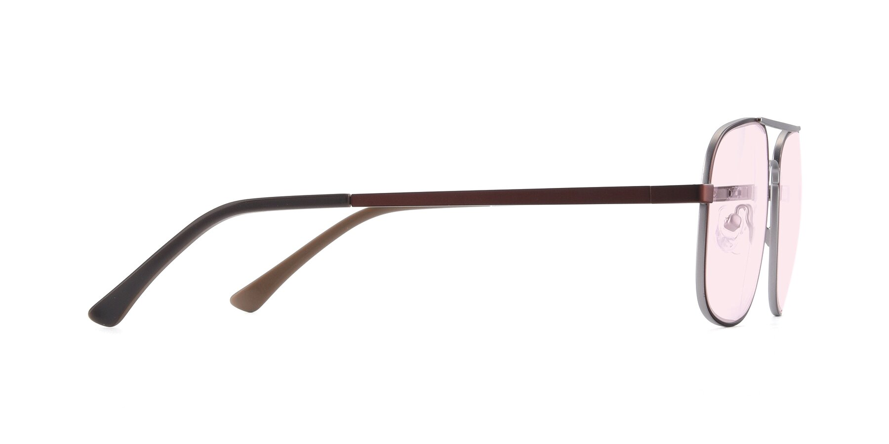 Side of 9487 in Brown-Silver with Light Pink Tinted Lenses