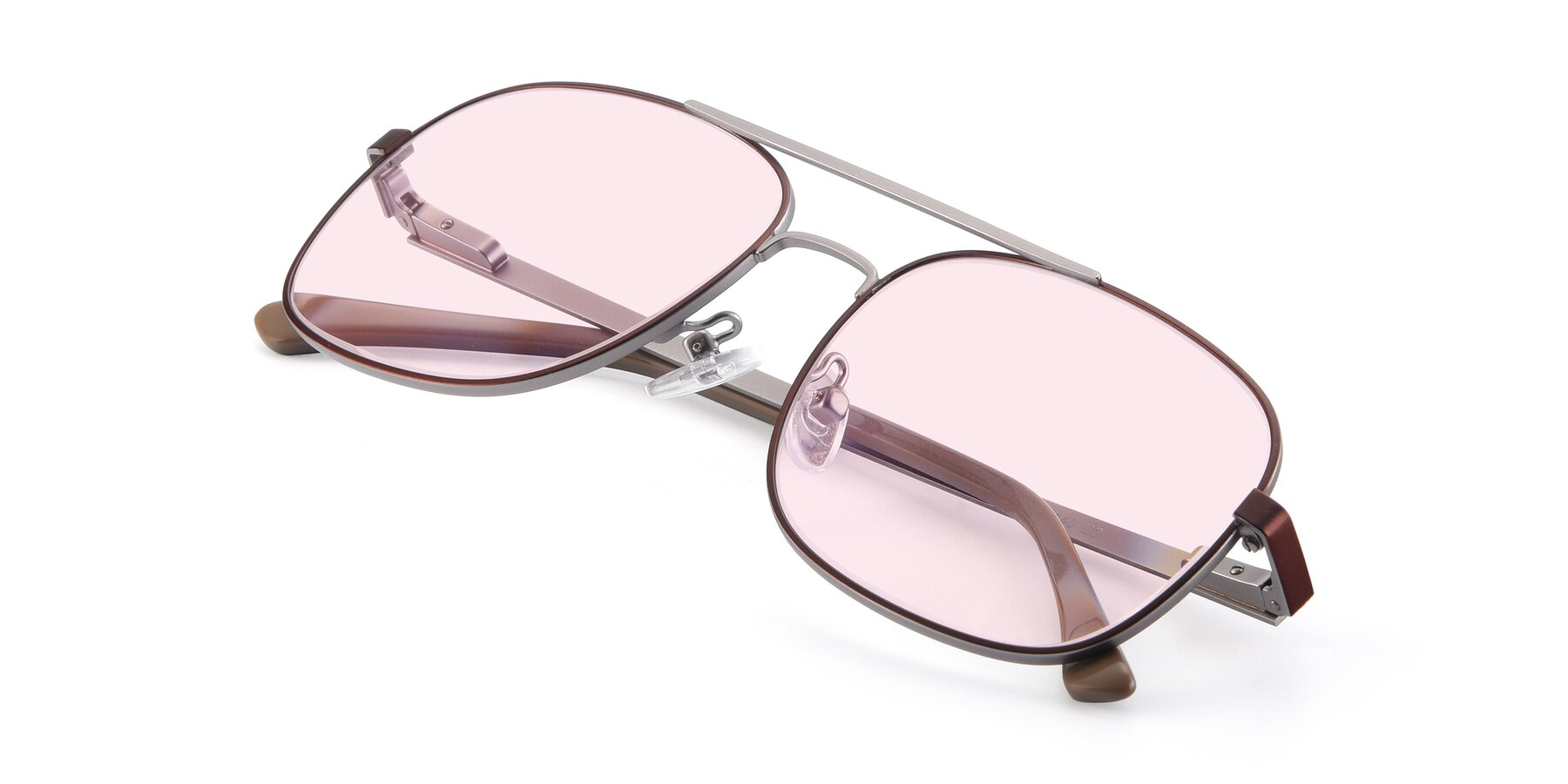 View of 9487 in Brown-Silver with Light Pink Tinted Lenses