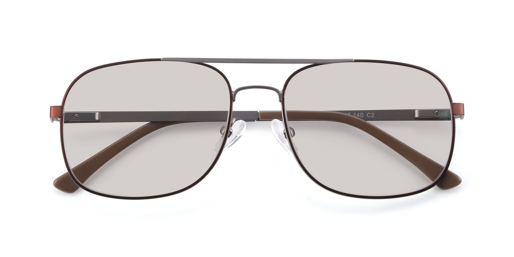 Folded Front of 9487 in Brown-Silver with Light Brown Tinted Lenses