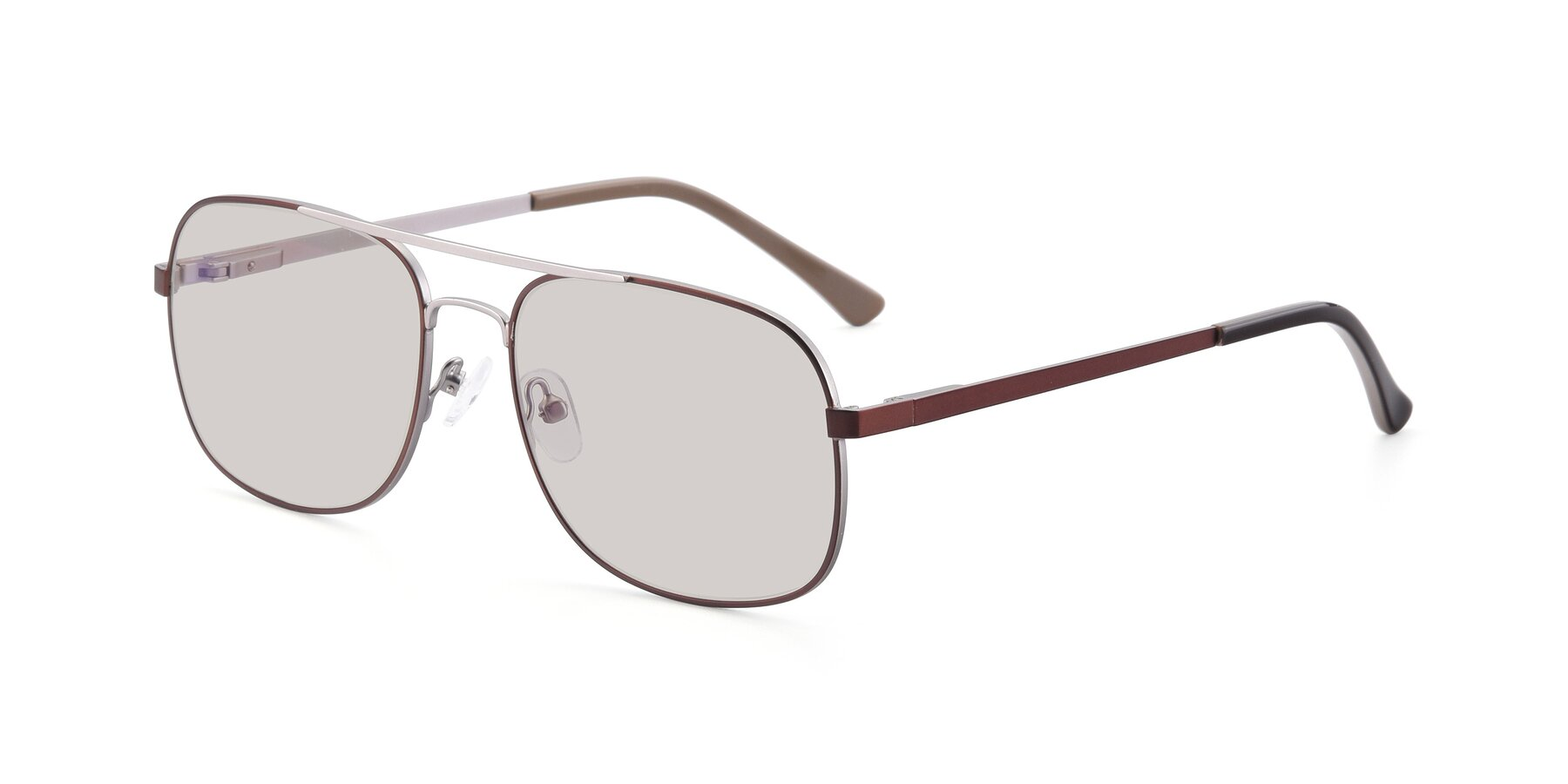 Angle of 9487 in Brown-Silver with Light Brown Tinted Lenses