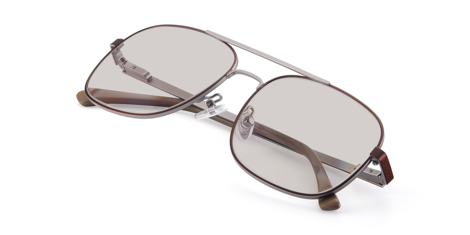 View of 9487 in Brown-Silver with Light Brown Tinted Lenses