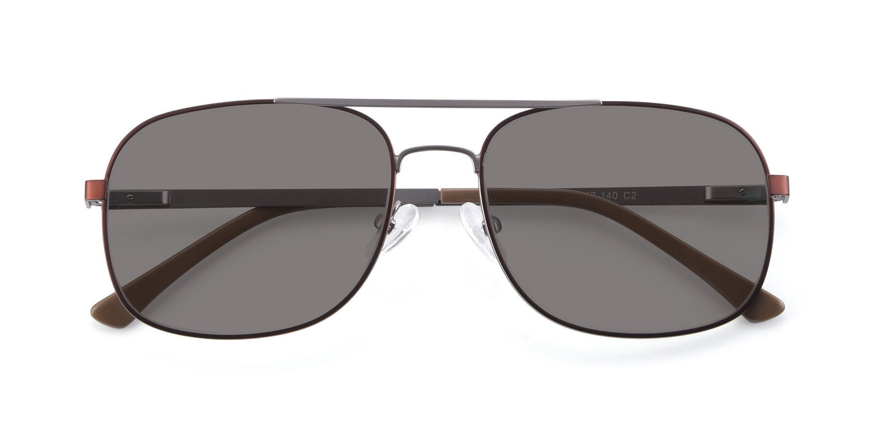Folded Front of 9487 in Brown-Silver with Medium Gray Tinted Lenses