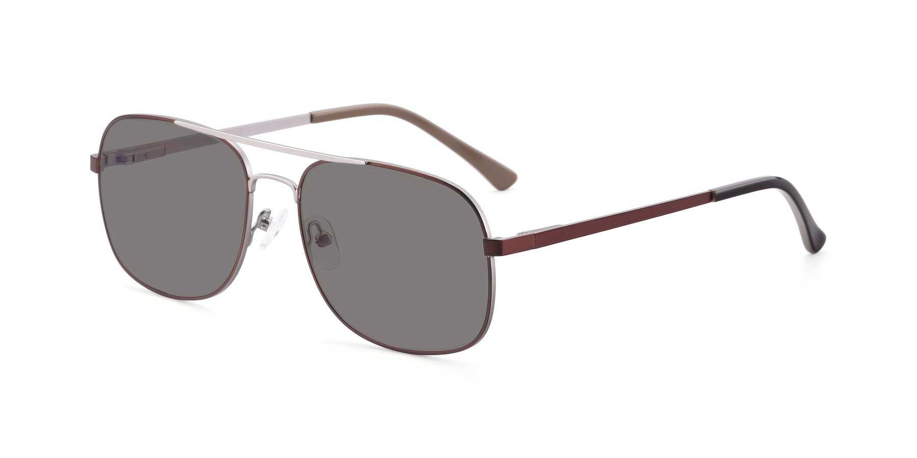 Angle of 9487 in Brown-Silver with Medium Gray Tinted Lenses
