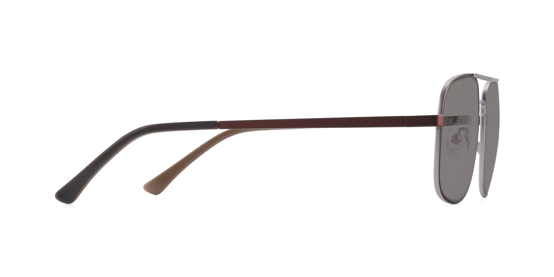 Side of 9487 in Brown-Silver with Medium Gray Tinted Lenses