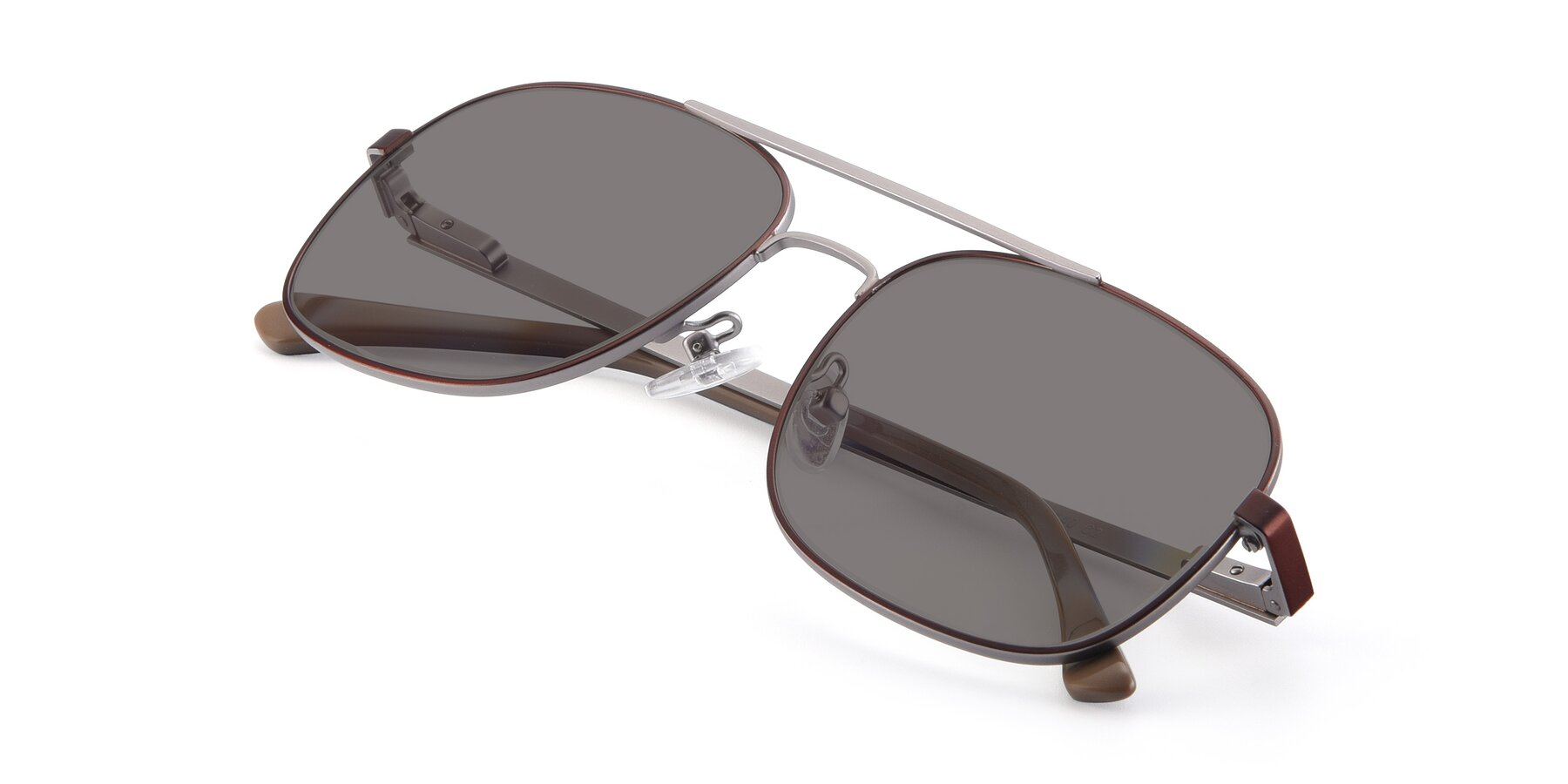 View of 9487 in Brown-Silver with Medium Gray Tinted Lenses