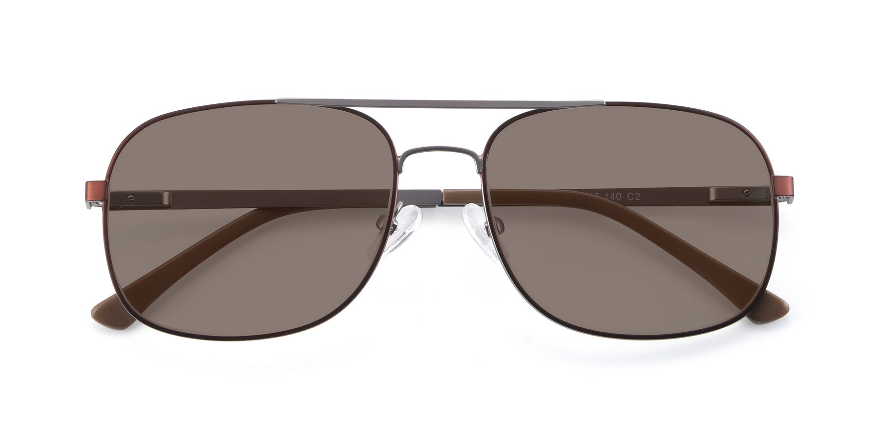Folded Front of 9487 in Brown-Silver with Medium Brown Tinted Lenses