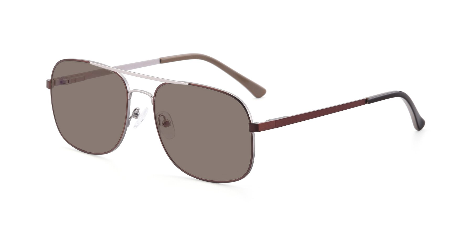 Angle of 9487 in Brown-Silver with Medium Brown Tinted Lenses