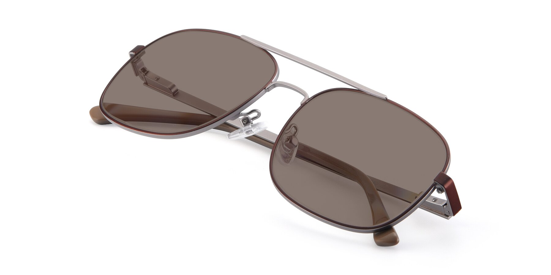 View of 9487 in Brown-Silver with Medium Brown Tinted Lenses
